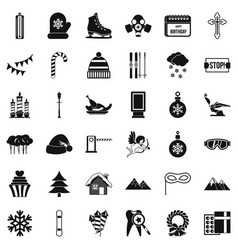 Winter celebration icons set simple style vector