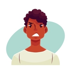 Young african man face upset confused facial vector