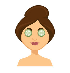 Young woman with cucumber slices on her eyes vector