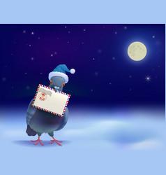 Christmas post pigeon vector