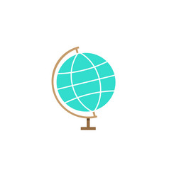 globe flat icon school and education element vector image