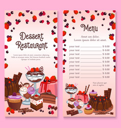 menu for pastry dessert cakes and cupcakes vector image vector image