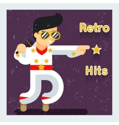 Retro hits singer like Elvis Presley vector image