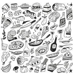 food doodles vector image vector image