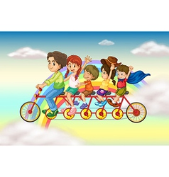 A family bike with a group of people riding vector image