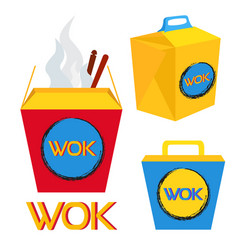 Boxes for wok food chinese and japan food vector