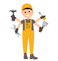 construction worker flat character building man vector image