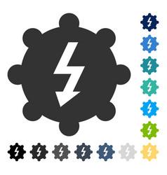Electricity cog wheel icon vector