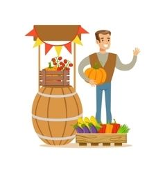 Man With Stand Of Fresh Vegetables Farmer Working vector image
