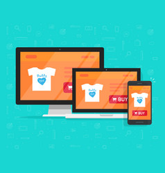 responsive internet shop design online store web vector image vector image