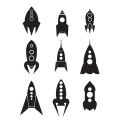 set of spacecraft icons silhouettes of spaceships vector image vector image