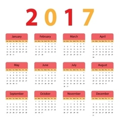 Simple calendar for 2017 vector image