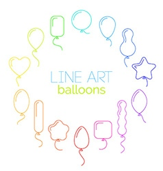 thin line icon set of rainbow balloons of vector image