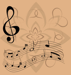 treble clef and floating notes vector image