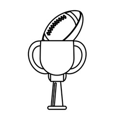 trophy american football ball winner outline vector image vector image