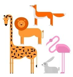 Wildlife zoo collection of cute cartoon animals vector image vector image