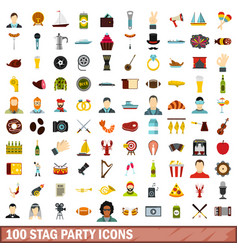 100 stag party icons set flat style vector