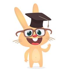 31 bcute cartoon rabbit wearing bachelor hat vector