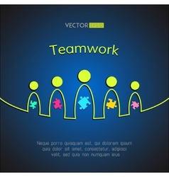 A team of people with puzzles Teamwork business vector image