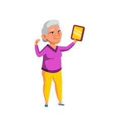 Aged japanese woman showing certificate at home vector