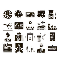 Airline and airport glyph set vector