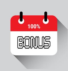 bonus lettering calendar day background icon vector image