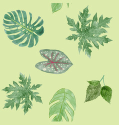 Botanical background green leaves tropical vector
