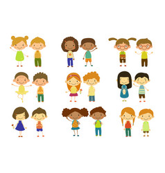 Boys and girls set cute happy little kids vector