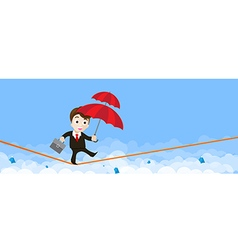 Business man cartoon holding umbrella and walking vector image