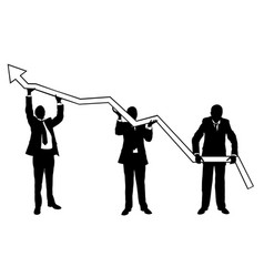 Businessmen lifting graph vector