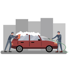 car wash two employees wash automobile in red vector image
