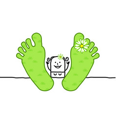 Cartoon relaxing spring woman with big feet vector