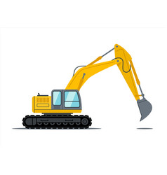cartoon yellow and black excavator construction vector image