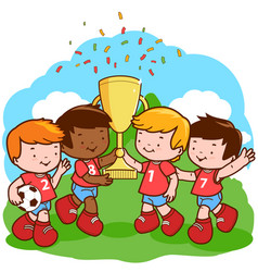 children soccer players holding trophy vector image