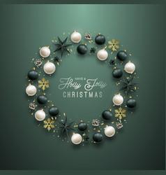 christmas background circle frame vector image