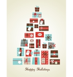 Christmas presents arranged as a seasonal tree vector
