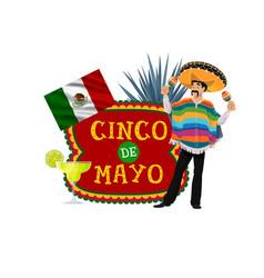 Cinco de mayo icon with mexican musician vector