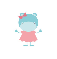 Colorful caricature of faceless female hippo in vector