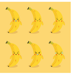 Cute banana character with expression vector