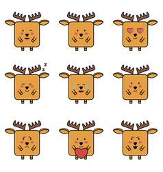 deer elk emoji set vector image