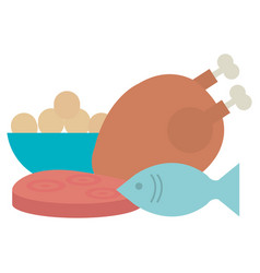delicious chicken meat with fish and ham vector image