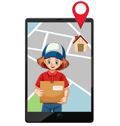 Delivery girl or courier with map screen on tablet vector