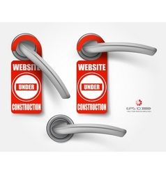 Door handles with hanging signs site under vector