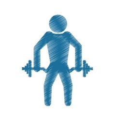 Drawing colored silhouette strong man dumbbell vector