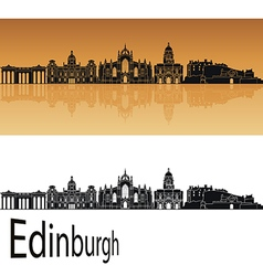Edinburgh skyline in orange vector image