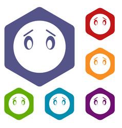emoticon icons set vector image