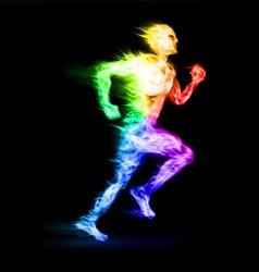 Fiery running man vector image