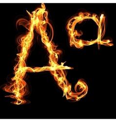 fire alphabet letter A vector image