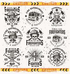 fire department set of vintage emblems vector image
