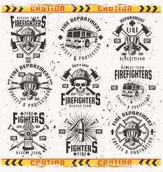 Fire department set vintage emblems vector